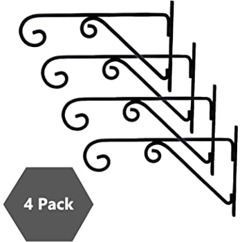 Sharpex Plant Hanger Brackets Wall Mounted - Metal Plants Hangers Hanging Decorative Hooks Holder for Indoor Outdoor Flower Basket Pot Planter Bird Feeder Wind Chimes Lantern - Black - Set of 4