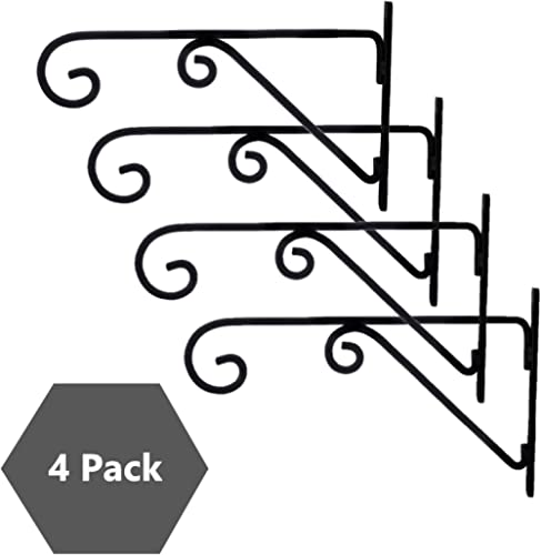 Sharpex Metal Plant Hanger Bracket, Black, 4 Pieces