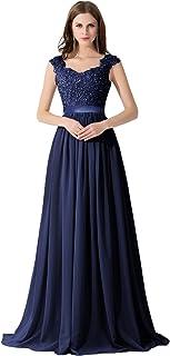 1c2885a8c8f967 Damen Elegant Spitze Brautjungfernkleid A-Linie Chiffon Abendkleid in 8  Farben Maxilang 32-46