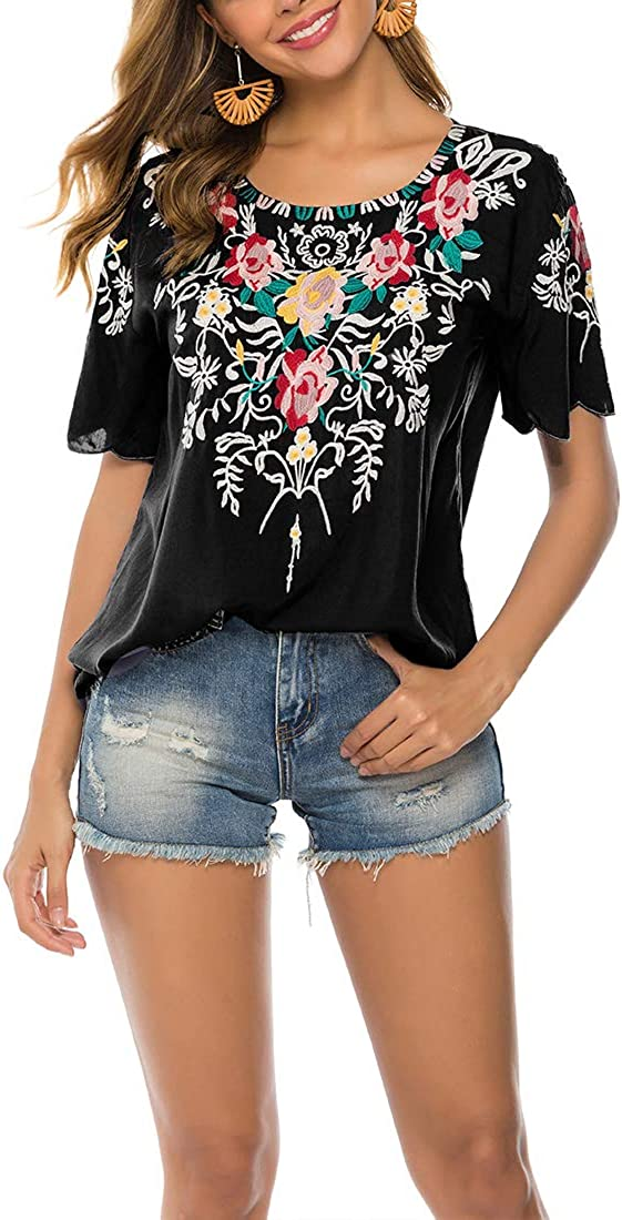 Quality inspection AK Women's Summer Boho Embroidery Bohemia Blouse Peasant Mexican National products