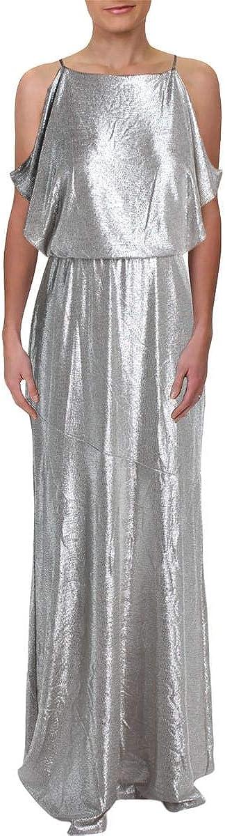 Ralph Lauren Womens Beige Cold Shoulder Metallic Sleeveless Halter Maxi Sheath Formal Dress Size 2