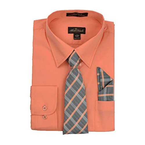 09f93a8cf64d Alberto Danelli Men's Long Sleeve Dress Shirt with Matching Tie and  Handkerchie Set