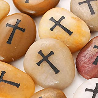 24 Pcs RockImpact Engraved Cross Worry Stones for Pray Faith Memorial Stones Smooth Polished Natural River Rock Baptism Christening Holy Communion Gift Wholesale Value (2-3 Inches Each, Set of 24)