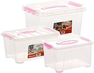 BBZZ Boîte de rangement avec couvercle, légère, robuste, empilable, en plastique transparent, 3 conteneurs avec poignée (c...