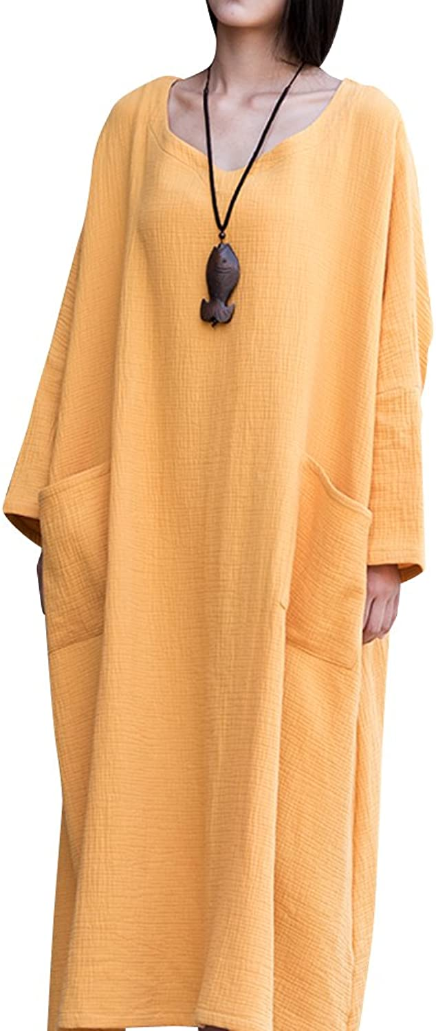 BELLEFILLES Womens Plus Size Loose Fitting Quilted Lining Cotton Gown,Bust 145CM
