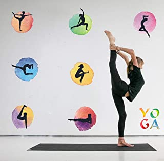 TOARTi Watercolor Yoga Wall Decal, Yoga Poses Outline Wallpaper Woman Exercise Meditation Wall Decal for Yoga Studio Decoration