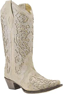 Corral Women's White Glitter Inlay & Crystals White Cowgirl Boots