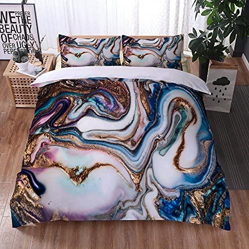 Bedclothes-Blanket Funda nórdica Funda de Colcha,Ropa de Cama Juego de Tres Piezas de Almohadas 3D Impresión Digital de mármol colorido-33_173x218cm