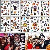 Tattoo Kids, Juego de tatuajes temporales de Halloween, 10 hojas de Halloween, impermeables, tatuajes para niños, pegatinas para niños, niñas, fiestas de Halloween, regalos, calabazas, decoración
