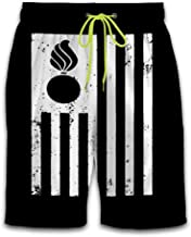 JJZZA Men's Beach Short Pants Swim Trunks,Ammo Pisspot American Flag Shorts for Swimming Surfing