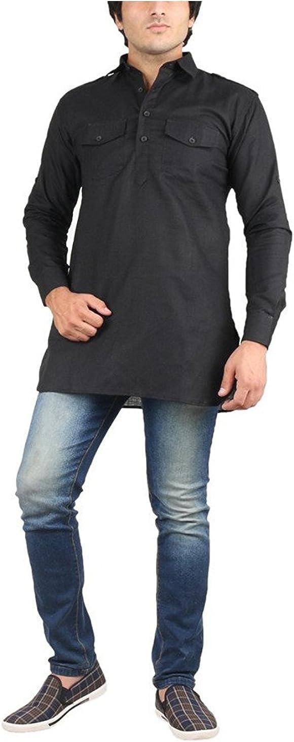 Royal Kurta Men's Fine Cotton Short Pathani Kurta For Denim's