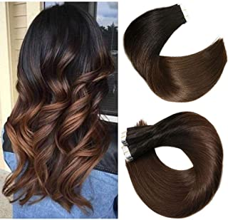 Tape In Hair Extensions Human Hair Balayage Ombre Hair 20pcs/50g Per Set Natural Black Fading to Medium Brown Double Sided Tape Skin Weft Remy Silk Straight Hair Glue in Extensions Human Hair 16 Inch