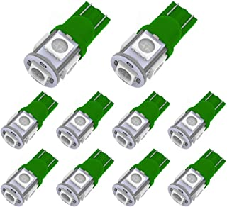 YITAMOTOR 10PCS T10 Wedge 5-SMD 5050 Green LED Light Bulbs W5W 2825 158 192 168 194 12V DC