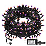 Dazzle Bright Halloween 300 LED String Lights, 100FT String Lights with 8 Lighting Modes, Halloween Decorations for Party Carnival Supplies, Outdoor Yard Garden Decor (Purple & Orange)