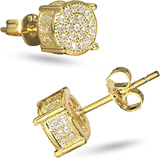 LEEQ Orecchini a bottone con zirconi Orecchini a bottone con cristalli di ghiaccio rivestiti in oro 14K/platino 5A CZ Orec...