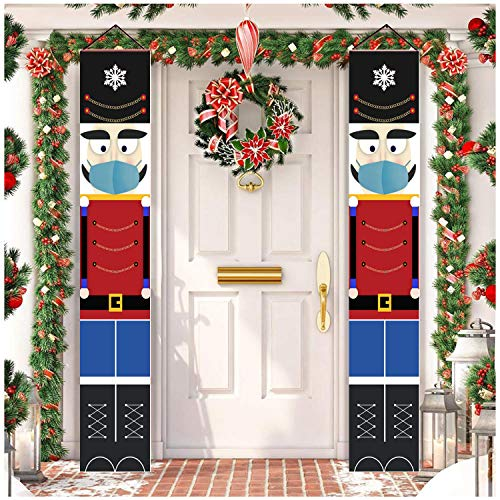 BCARICH Nutcracker Porch Sign for Christmas Outdoor Decoration, Life Size Masked Nutcracker Soldier Banner Sign for Outdoor Xmas Decor, 2020 Quarantine Hanging Decoration with Funny Design