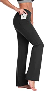 Womens Bootcut Yoga Pants with Pockets,Long Bootleg Flare Tummy Control Workout Running Pants