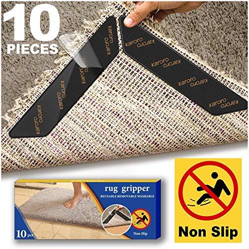 HEER Teppichgreifer, 10 Stück Anti-Curling-Teppichgreifer für Holzböden, Anti-Rutsch-Teppichunterlage, wiederverwendbares Teppichband, Rutschfester Teppichgreifer
