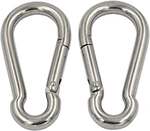 DGOL 2pcs 4 inch M10 Loading 650 lbs 304 Stainless Steel Outdoor Quick Link Clips Spring Hook Carabiner Fastener