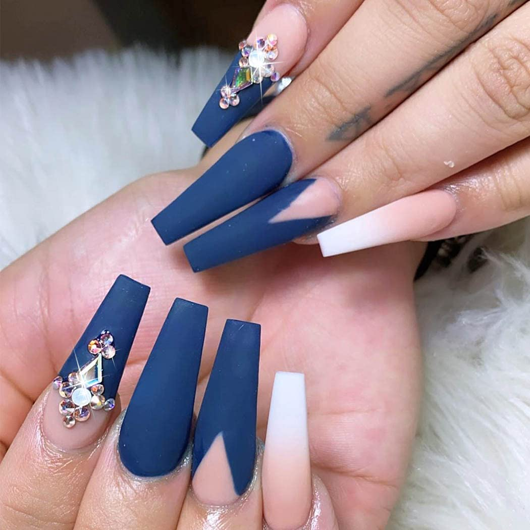 Outyua Super intense SALE Matte Rhinstone Extra Long Press Blue Acrylic Free Shipping New Nails Om on