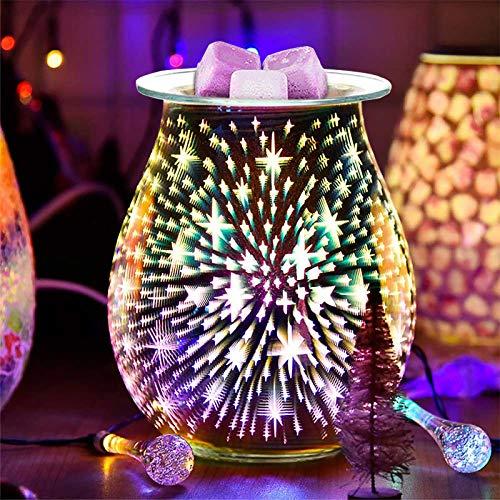 DONGKIKI Elektrischer Aroma-Wachsschmelzer, 3D-Aromatherapie-Lampe, Starburst-Feuerwerk, Glas, Kerzenwärmer, Wachs-Brenner, Nachtlicht für Zuhause und Büro