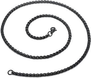 Xusamss Hip Hop Black Titanium Steel Square Beads Chain Necklace,Width 4MM