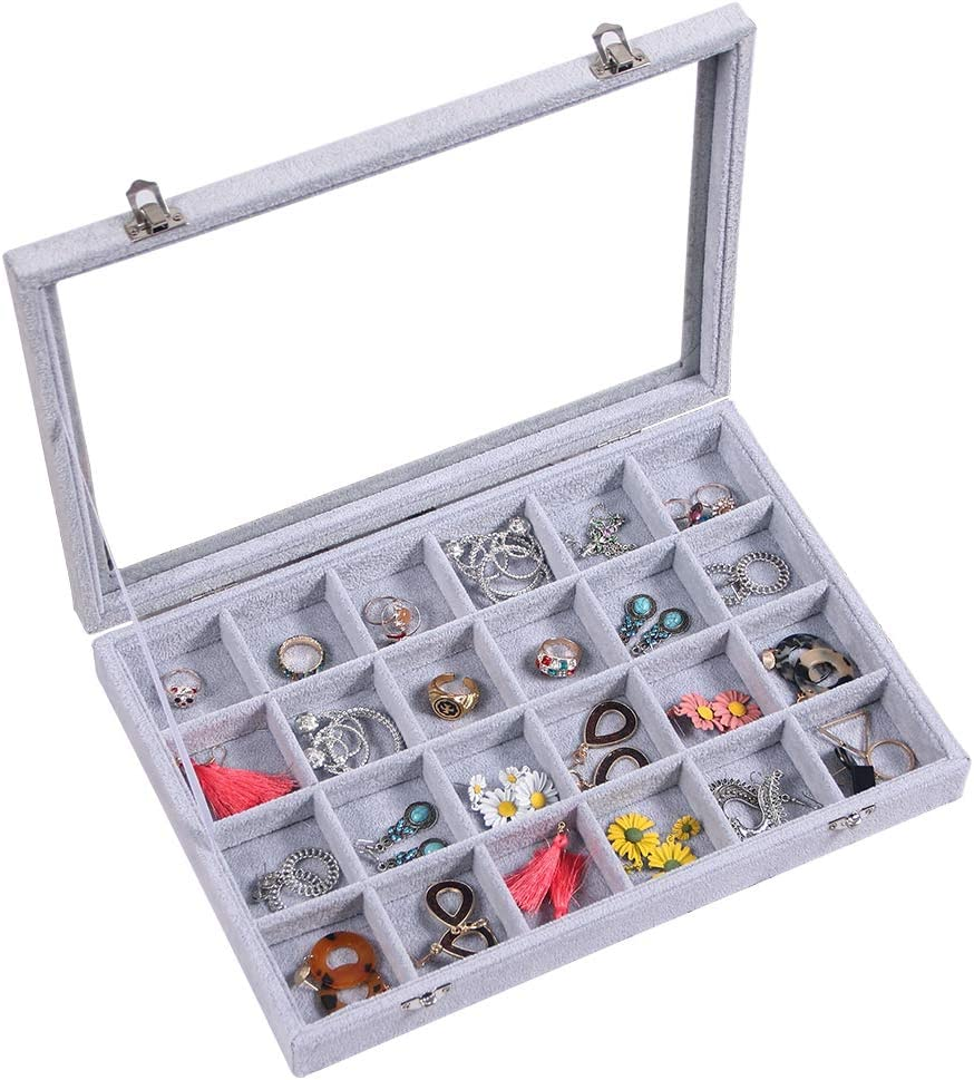 Glass Lid Velvet 24 Grids Jewelry Organizer Tray Challenge Max 79% OFF the lowest price Ear Ring Drawer