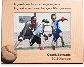 Lifetime Creations Engraved Personalized Baseball Coach Picture Frame 5x7 Frame - Personalized Baseball Coach Gifts, Youth Baseball Coach Frame Gift Ideas