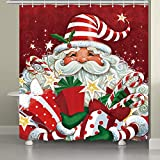 JAWO Christmas Shower Curtains for Bathroom, Festive Cute Cartoon Santa Claus with Many Gifts Merry Christmas Shower Curtains, 69X70 Inches