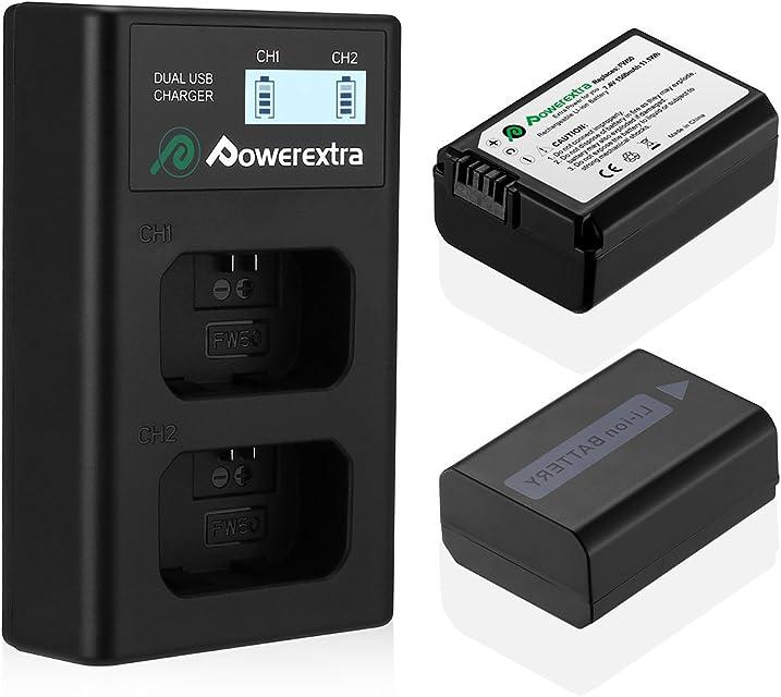 Powerextra Sony NP-FW50 Reemplazo 2 X 1500mAh Batería Rercargable con Inteligente Pantalla LCD Cargador Doble Canal para Sony Alpha a6500 a6300 a6000 a7s a7 a7s II a7s a51000 a5000 a7r a7 II Digital