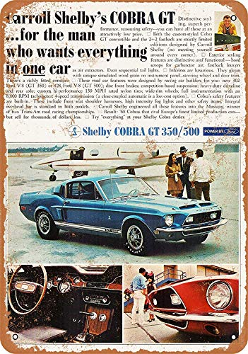 YASMINE HANCOCK 1968 Ford Mustang Shelby Cobra GT 350/500Metal Plaque Tin Sign Poster Plaque de métal Signe Mur Art Affiche Club Bar décoration