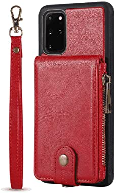 LQinuan Positive Cover Compatible with Samsung Galaxy S20 Ultra, red PU Leather Wallet Flip Case for Samsung Galaxy S20 Ultra