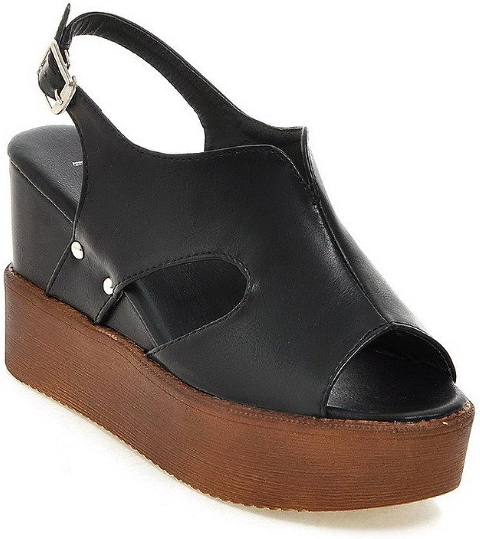 WeenFashion Women's High Heels Soft Material Solid Buckle Open Toe Platforms & Wedges