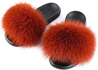 Women's Fluff Slide Slipper, Open Toe Cute Soft Plush Slippers, Comfortable House Shoes Indoor Or Outdoor Sandals,E,25CM