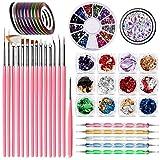 JOYJULY Diseños para uñas Utensilios para decorar uñas Kits de decoración con 15 Cepil...