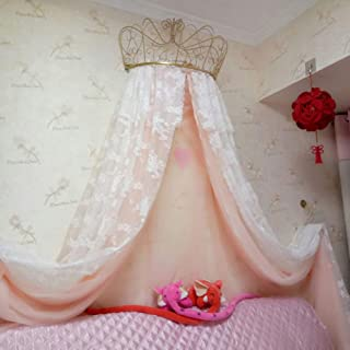 HOMEJYMADE Crown Dome Mosquito net,Princess Bed Canopies Kids Play House Princess Tent with Sparkly Stars HOT in Instagram-E 47inch