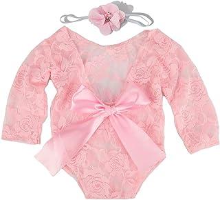 iSpchen iSpchen Baby Newborn Fotografie Requisiten, 2 Stück Baby Infant Spitze Strampler Foto Requisiten, Spitze Bodysuit  Haarband, Rosa