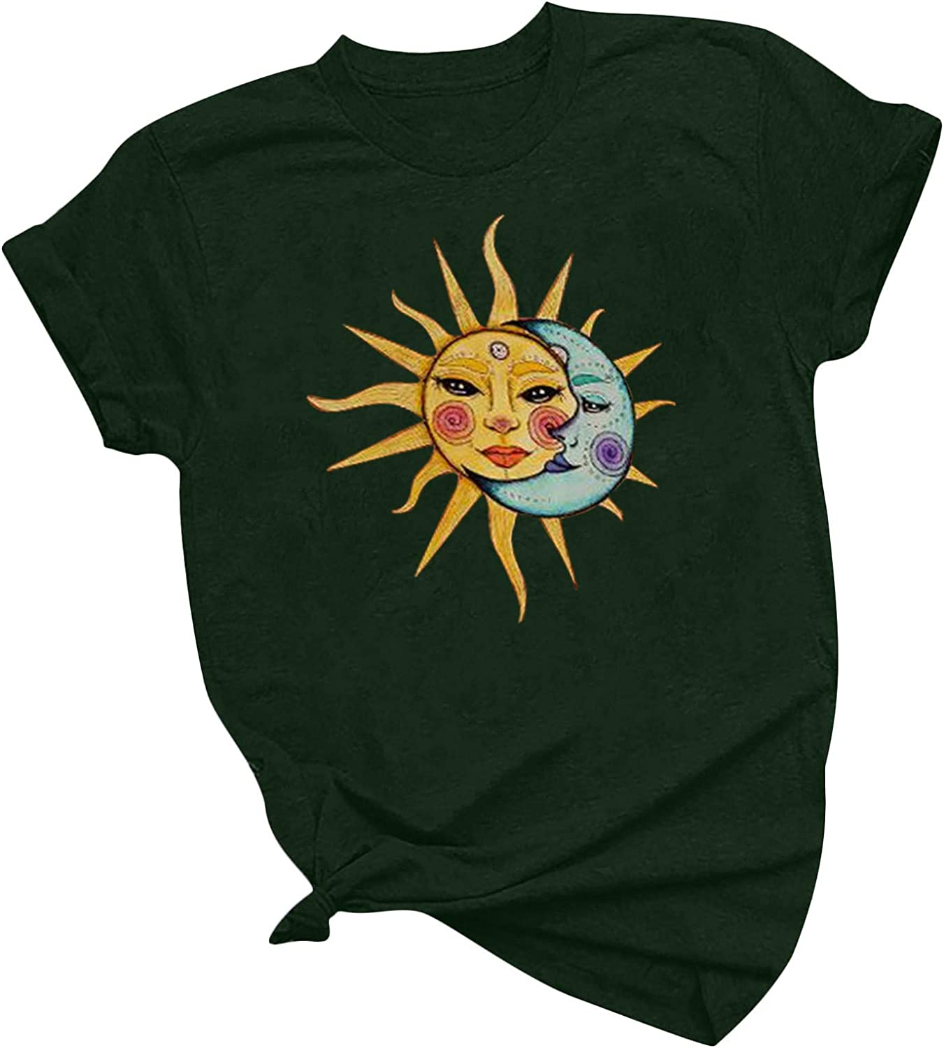 Aukbays T-Shirts for Womens Short Sleeve Sun and Moon Graphic Vintage Printing Tops Loose Fit Summer Blouse Tees Shirts