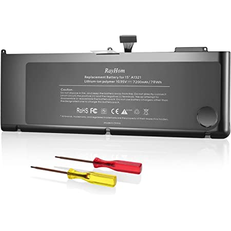 """RayHom A1321 A1286 Battery for MacBook Pro 15"""" (Year of Mid 2009 Early 2010 Late 2010) Fit for MB985 MB985LL/A MB986 MB986LL/A MB986J/A MC118 MC118LL/A MC373LL/A, 10.95V/78Wh"""