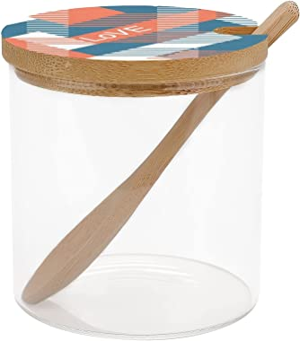 Geometric Abstract Pattern Coral Blue White Condiment Container Spice Jars Glass Seasoning Storage Container for Spice Salt S