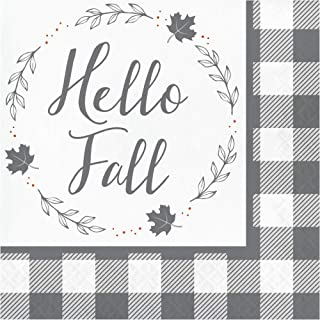 Hello Fall Paper Napkins, Thanksgiving Napkins, Table Decor Fall Decor, Buffalo Plaid Farmhouse Fall Decor, Disposable Par...