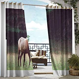 Andrea Sam Fashions Drape Brown Fawn on The Wilderness,W72 xL84 Silver Grommet Top Drape