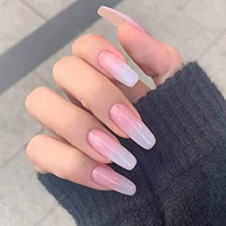 Poliphili 20Pcs Glossy Solid Color Gradient Super Long Press on Removable Wear Fake Nails Ballerina Coffin Extra Long Art ...