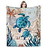 Joyloce Sea Turtle Flannel Fleece Throw Blanket 60'x50', Ocean Animal Tortoise Birthday Gifts Idea Throws and Blankets, Decorative Cover Super Cozy Lightweight in Home Bed Sofa