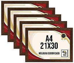 Kit 5 Porta Certificados 21x30 Moldura A4 para Certificado Foto Parede Ypê