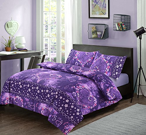 Excellent Hotel Quality Single Floral Heart Design Jasmin Plum Duvet Cover Set Bedding Set with pillowcases - Single Size