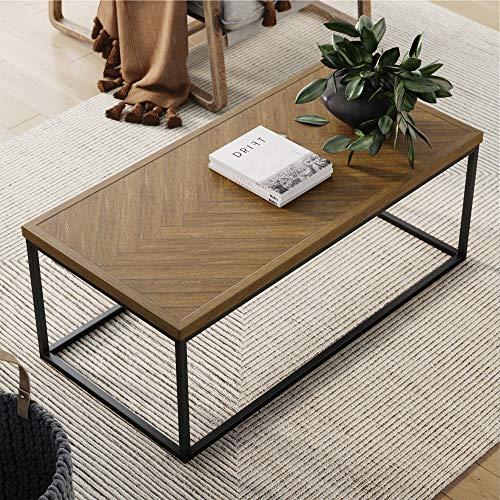 Nathan James Doxa Modern Industrial Coffee Table Wood in Herringbone Pattern and Metal Box Frame, Light Brown/Black