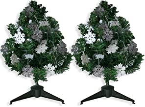 BANBERRY DESIGNS Small Pine Trees with Mini Snowflake Ornaments - Set of 2 Mini Holiday Trees with Silver and White Glitte...