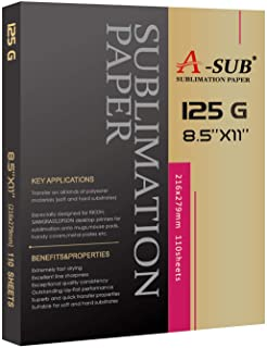 A-SUB Sublimation Paper 8.5x11 Inch 110 Sheets for Any Inkjet Printer with Sublimation Ink 125g