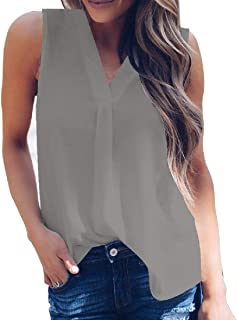Comaba Women V Neck Chiffon Blouse Plus Size Sleeveless T-Shirt TankTops